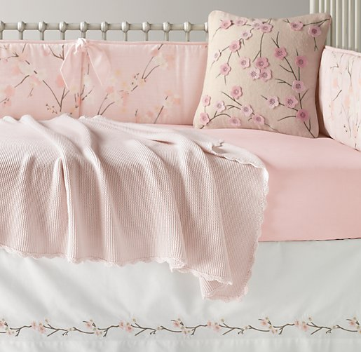 European Cherry Blossom & European Vintage-Washed Percale Nursery Bedding Collection