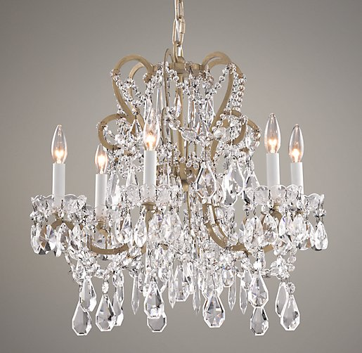 Manor Court Crystal 6-Arm Chandelier Aged Gold