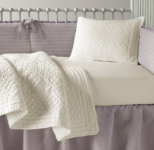 Vintage-Washed Belgian Linen Stripe & European Vintage Washed Percale Nursery Bedding Collection