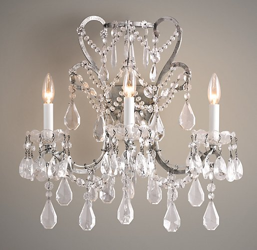Manor Court Crystal 3-Arm Sconce Aged Pewter