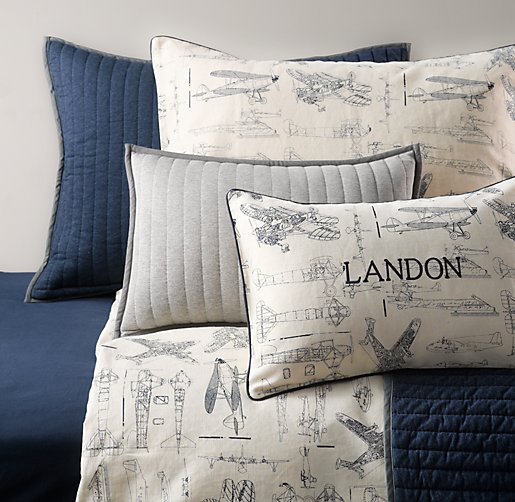 Vintage Airplane Blueprint & European Vintage Washed Percale Bedding Collection
