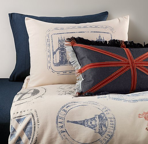 Vintage Passport Stamp & European Heathered Jersey Bedding Collection