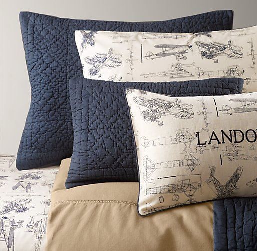 Tumble-Washed Twill & European Vintage Airplane Blueprint Bedding Collection