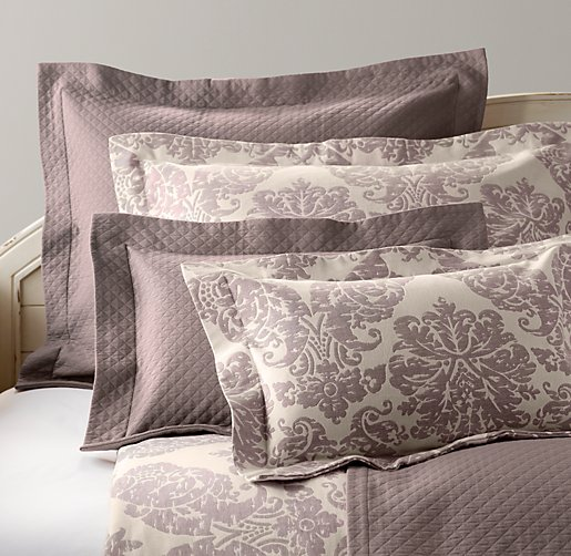 European Vintage Washed Damask Matelassé & European Vintage Washed Percale Bedding Collection