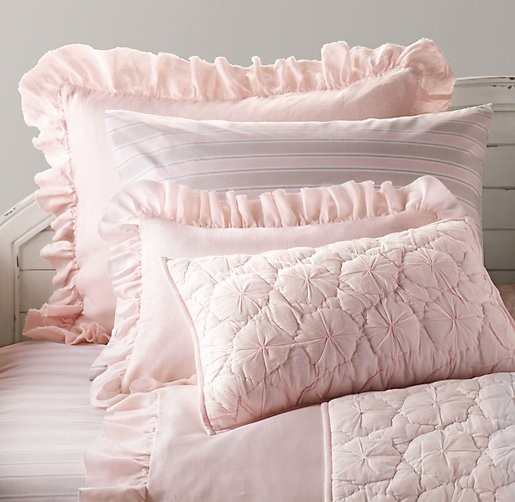 Frayed Ruffle & European Vintage Stripe Bedding Collection