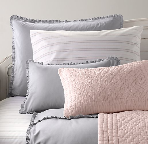 Vintage-Washed Ruffle & Heirloom Stripe Bedding Collection