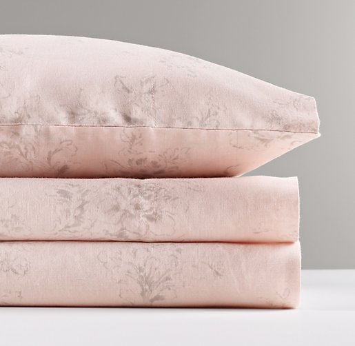 Washed Linen-Cotton Floral Standard Pillowcase