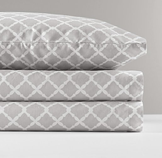 European Trellis Percale Standard Pillowcase