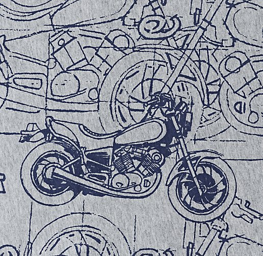 European Vintage Motorcycle Jersey Bedding Swatch