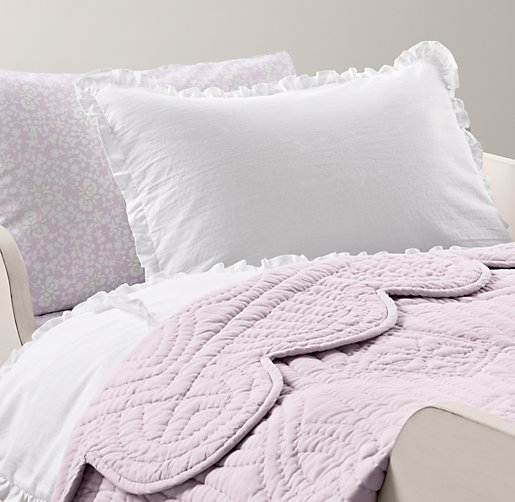 European Vintage-Washed Ruffle & European Fleur Toddler Bedding Collection