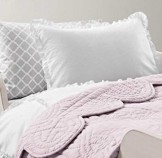 European Vintage-Washed Ruffle & European Trellis Percale Toddler Bedding Collection