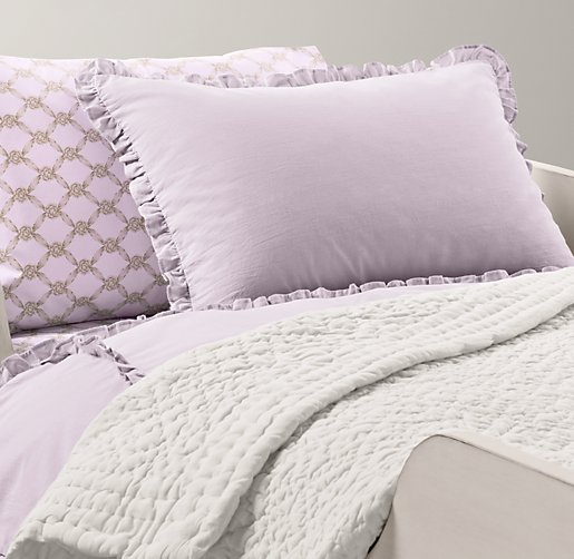European Vintage-Washed Ruffle & European Rosette Lattice Toddler Bedding Collection