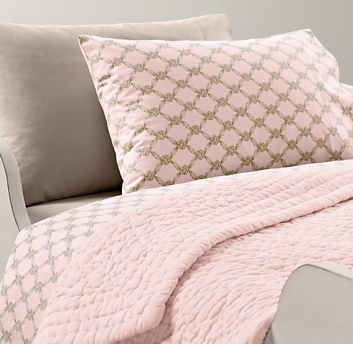European Rosette Lattice & European Vintage-Washed Percale Toddler Bedding Collection