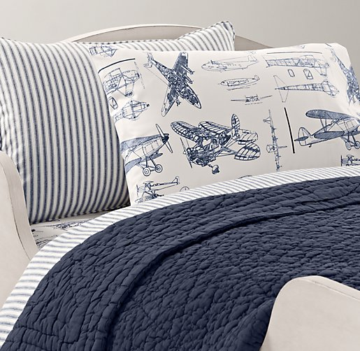 Henley Stripe & European Vintage Airplane Blueprint Toddler Bedding Collection