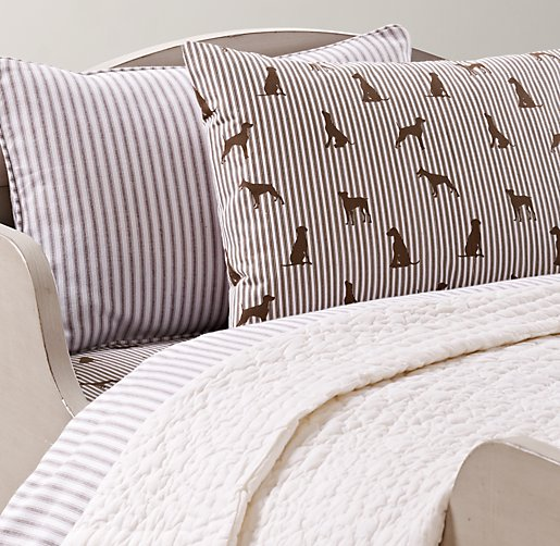 Henley Stripe & European Dog Silhouette Toddler Bedding Collection