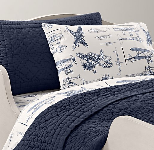 European Vintage Airplane Blueprint Toddler Bedding Collection
