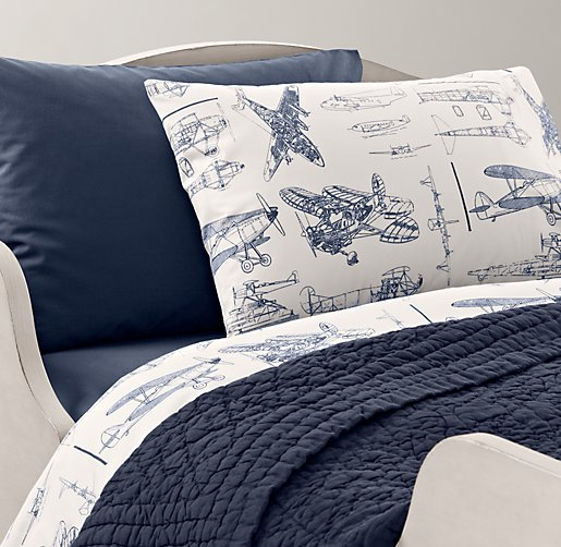 European Vintage Airplane Blueprint & European Vintage-Washed Percale Toddler Bedding Collection