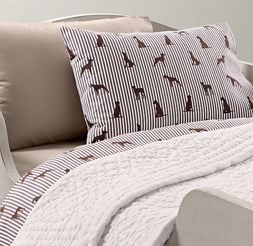 European Dog Silhouette & European Vintage-Washed Percale Toddler Bedding Collection