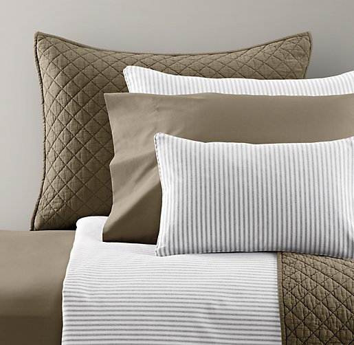 Henley Stripe & European Vintage-Washed Percale Bedding Collection