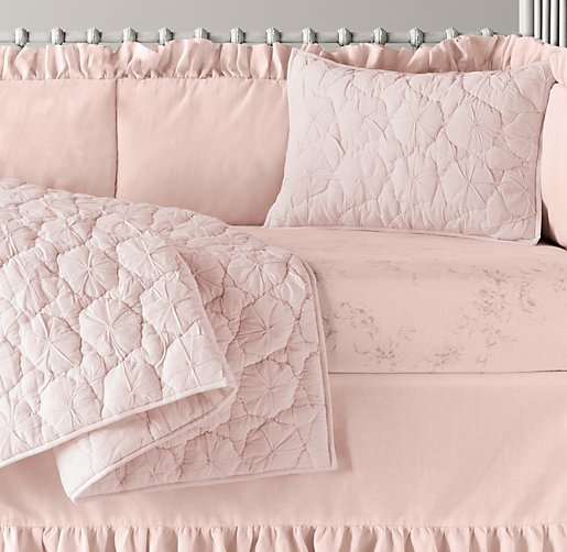 Frayed Ruffle & Washed Linen Cotton Floral Nursery Bedding Collection