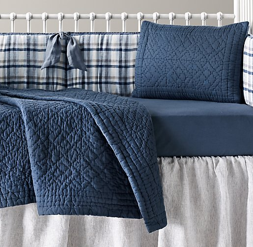 Washed Linen Plaid & European Vintage-Washed Percale Nursery Bedding Collection