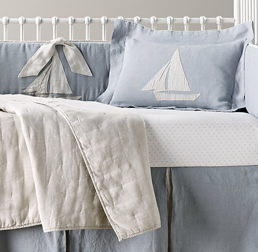 Appliquéd Linen Sailboat & European Anchor Print Nursery Bedding Collection
