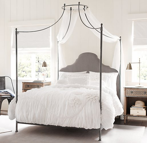 allegra iron canopy bed fog vintage velvet. Black Bedroom Furniture Sets. Home Design Ideas