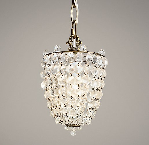 Chantilly Crystal Pendant Aged Brass