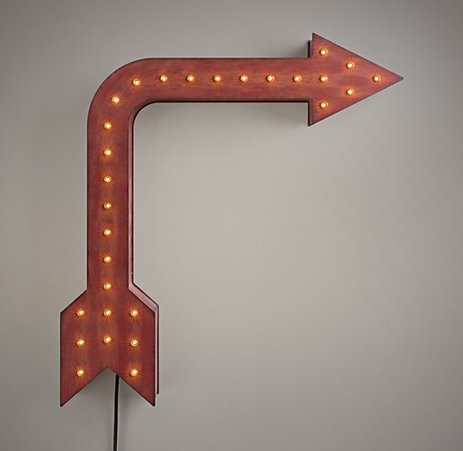 Vintage Illuminated Arrow Distressed Red