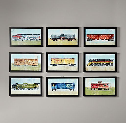 Vintage Train Car Art