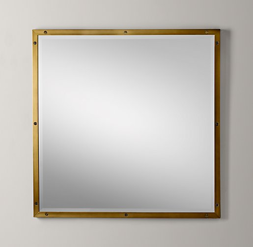 Bistro Antiqued Brass Mirror