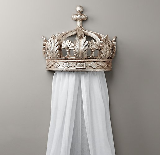 Crib hardware for sale - Pewter Demilune Canopy Bed Crown