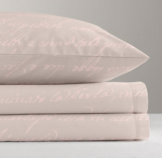 Italian Love Letter Percale Sheet Set