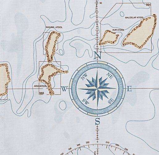 Italian Nautical Map Percale Bedding Swatch