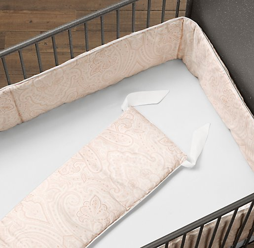 Italian Washed Sateen Paisley Crib Bumper