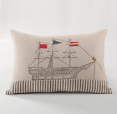 Appliquéd Ship Decorative Pillow Cover