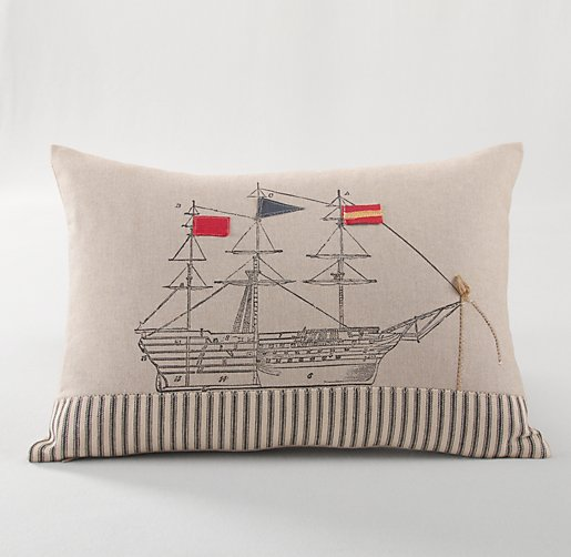 Appliquéd Ship Decorative Pillow Cover & Insert