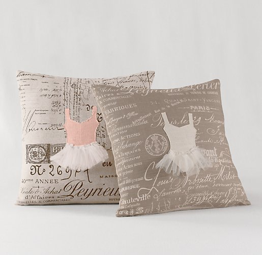 Appliquéd Ballerina Decorative Pillow Cover & Insert