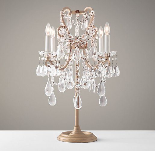Manor Court Crystal Table Lamp Aged Gold