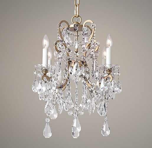 Manor Court Crystal 4-Arm Chandelier Aged Gold