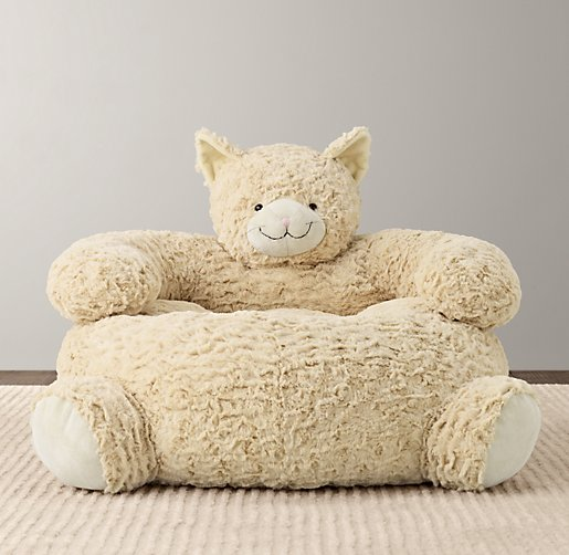 Textured Plush Cat Chair