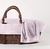 Cuddle Plush Moses Basket Bedding & Espresso Basket