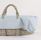 Washed Organic Linen Moses Basket Bedding & Ash Basket Set