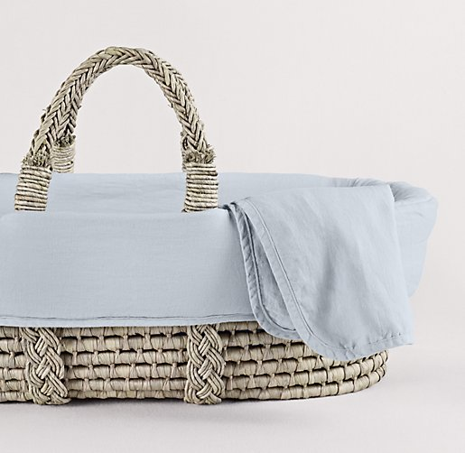 Washed Organic Linen Moses Basket Bedding Amp Ash Basket Set