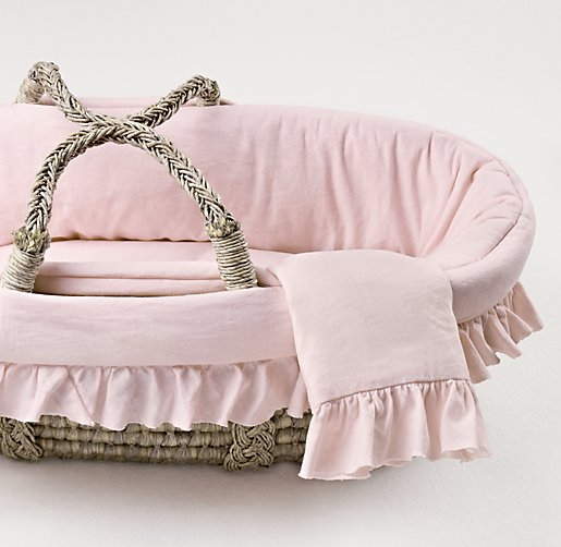 Frayed Ruffle Moses Basket Bedding