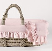 Frayed Ruffle Moses Basket Bedding & Ash Basket Set
