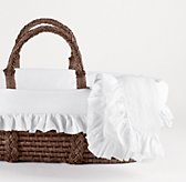Frayed Ruffle Moses Basket Bedding & Espresso Basket Set