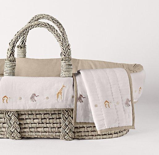 Embroidered Safari Moses Basket Bedding & Ash Basket Set
