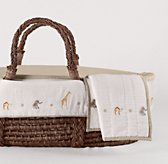 Embroidered Safari Moses Basket Bedding & Espresso Basket Set