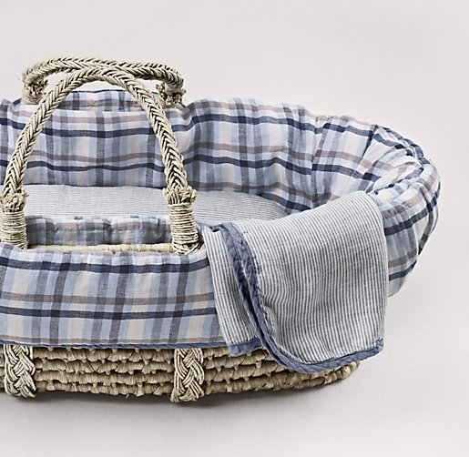 Washed Linen Plaid Moses Basket Bedding